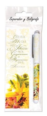 Este es el Dia que Jehova Hizo, Marcador de Libro y Lapicero  (This is the Day the Lord has Made, Bookmark and Pen)  -