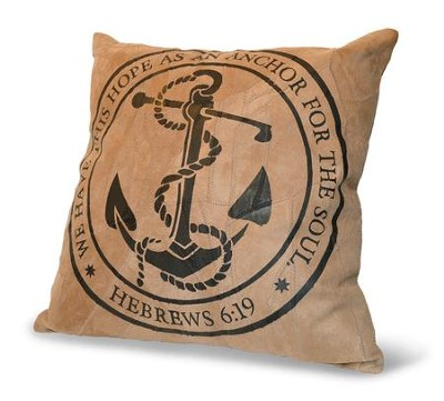 We Have This Hope As An Anchor For the Soul, Suede Leather Pillow  -