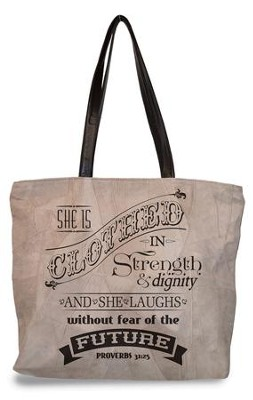 She Is Clothed In Strength and Dignity, Suede Leather Tote Bag  -