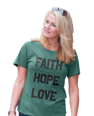 Faith Hope Love, Ladies Top, Teal, Large  -