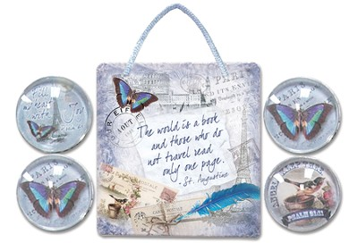 The World Is A Book Sign and Magnets Gift set  -