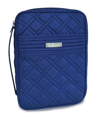 Quilted Bible Cover, Navy, Medium  -