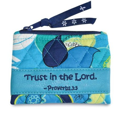 Trust In the Lord, Quilted Floral Coin Purse  -
