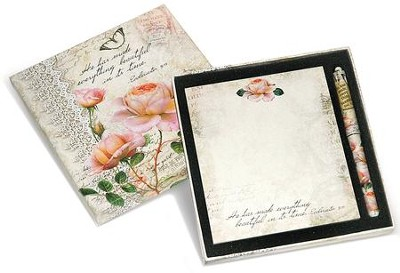He Has Made Everything Beautiful In Its Time Memo Pad and Pen Gift set  -