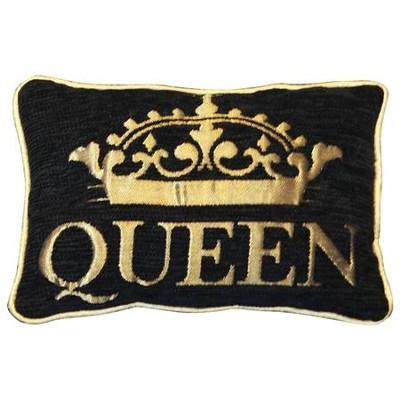 Queen Pillow, Small, Black and Gold  -