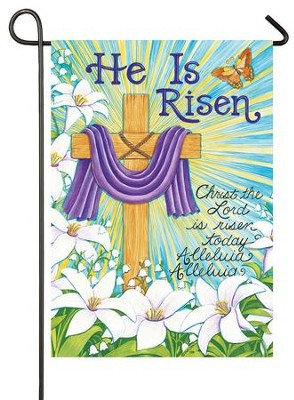 He Is Risen, Cross and Lilies Flag, Small  -     By: Deb Strain