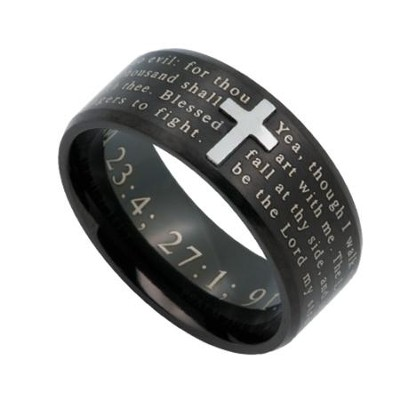 Psalm Logos Men's Ring Black, Size 10 (Psalms)  -