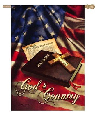 God and Country Flag, Large  -     By: Greg & Co.