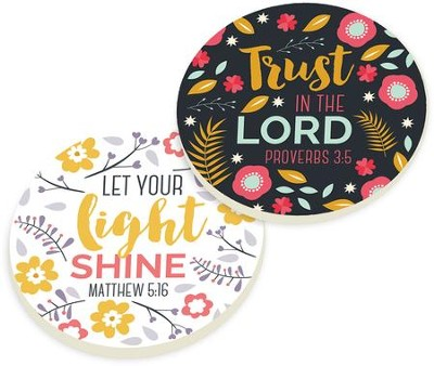 Floral Scripture Car Coasters, Set of 2  -
