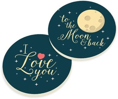 To the Moon and Back Car Coasters, Set of 2  -