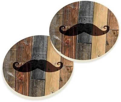 Mustache Car Coasters, Set of 2  -