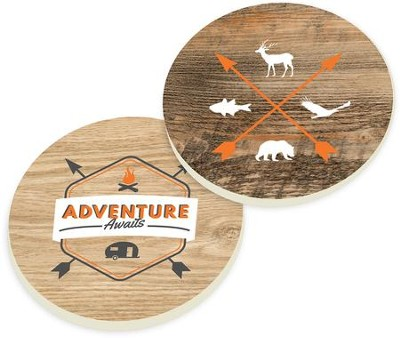 Adventure Awaits Car Coasters, Set of 2  -