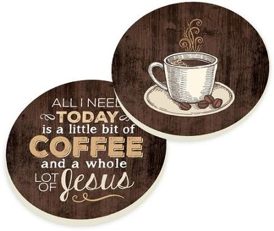 Coffee and Jesus Car Coasters, Set of 2  -