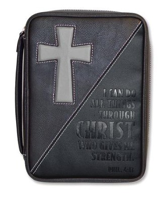 I Can Do All Things Through Christ, Bible Cover, Black, Large  -