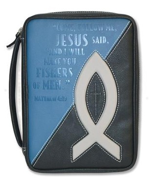 Fishers Of Men, Bible Cover, Black and Blue, Large  -