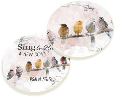 Sing to Him Car Coasters, Set of 2  -