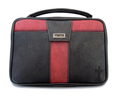 Truth Cross Bible Cover, Black and Red, X-Large  -