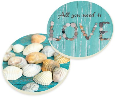 Shells and Love Car Coasters, Set of 2  -