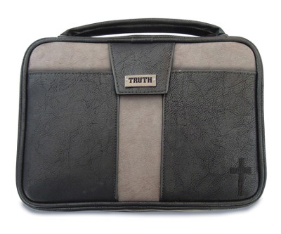Truth Cross Bible Cover, Black and Gray, Large  -