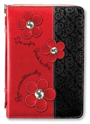 Live Simply, Bible Cover, Red, Large  -