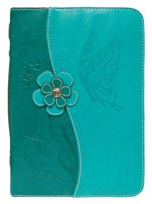 Butterfly Bible Cover, Teal, Medium  -