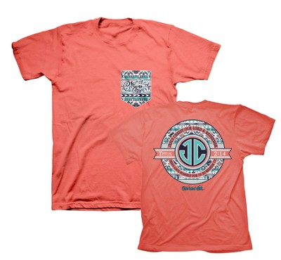 JC Monogram Shirt, Coral, Large  -