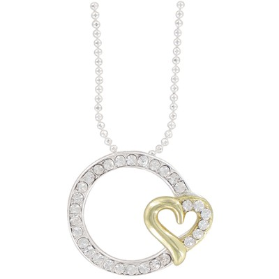 Endless Love, Circle with Heart Rhinestone Necklace  -