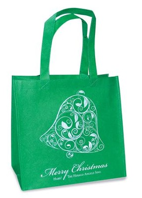 Merry Christmas, Bell Eco Tote Bag, Green  -