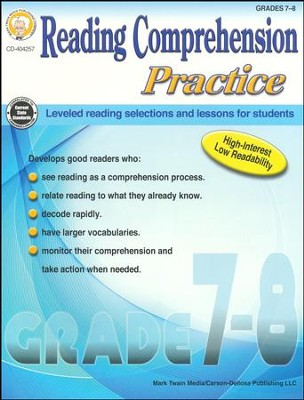 Reading Comprehension Practice, Grades 7-8   -