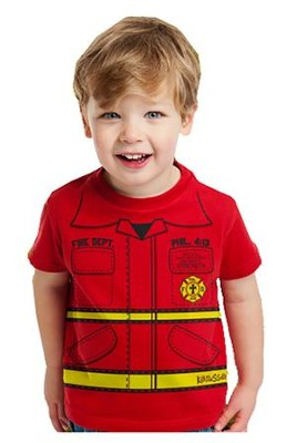 Fire Department Shirt, Red, Youth Large  -