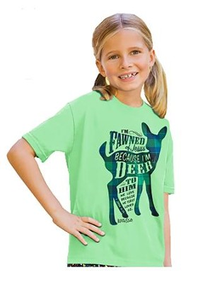 I'm Fawned Of Jesus Because I'm Deer To Him Shirt, Green, Youth Medium  -