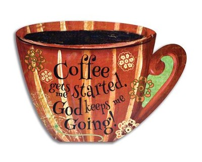Coffee Gets Me Started, God Keeps Me Going Recipe Card Holder with Magnets  -