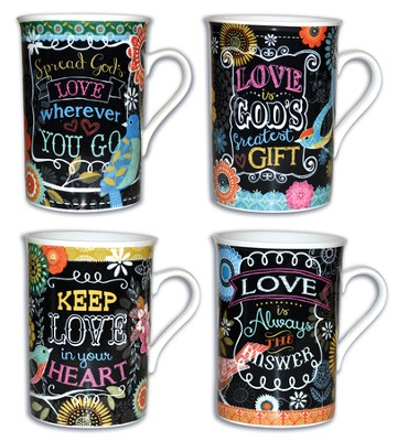 Love Chalkboard Mugs, Set of 4  -