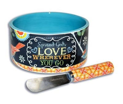 Spread God's Love Wherever You Go Dip Bowl and Spreader  -