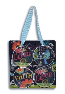 Faith, Hope, Love Sign and Magnets Gift set  -