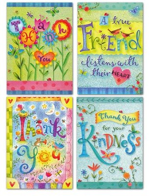 Thank You, Whimsical Words Cards, KJV, Box of 12  -