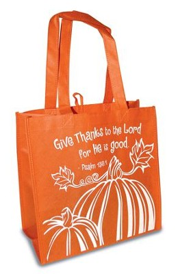 Give Thanks To the Lord Eco Tote Bag, Orange  -