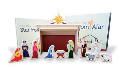 The Christmas Star From Afar Nativity, 16 Pieces, and Book Set ...