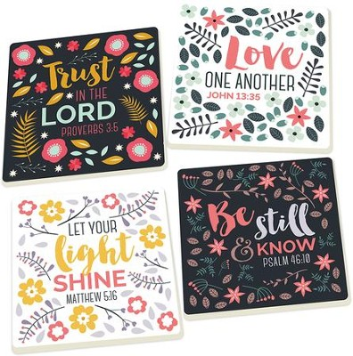Floral Scripture Coasters, Set of 4  -
