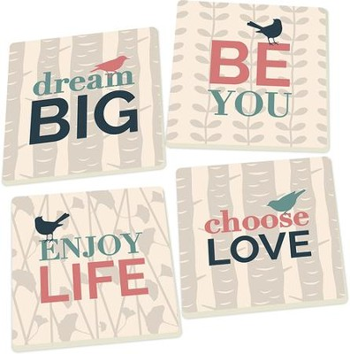 Inspirational Bird Coasters, Set of 4  -