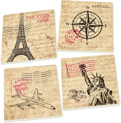Travel Inspired Coasters, Set of 4  -