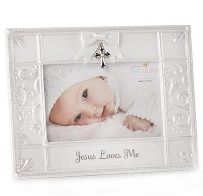 Jesus Loves Me Photo Frame with Cross  -