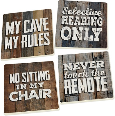Man Cave Coasters, Set of 4  -
