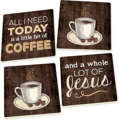 Coffee and Jesus Coasters, Set of 4  -