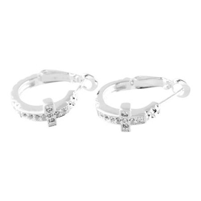 Cubic Zirconia Cross Hoop Earrings  -
