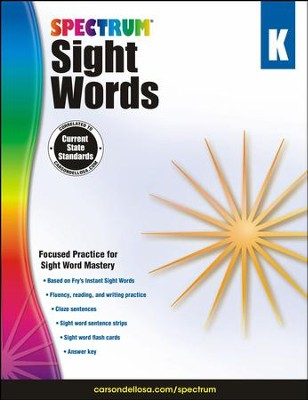 Spectrum Sight Words Grade K (2014 Update)  -