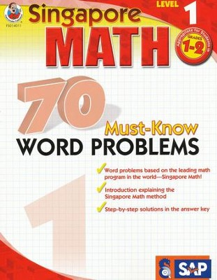 Singapore Math 70 Must-Know Word Problems, Level 1, Grades 1-2  -