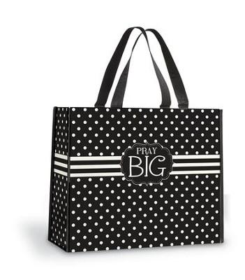 Pray Big Tote Bag, Black and White Polka Dots  -