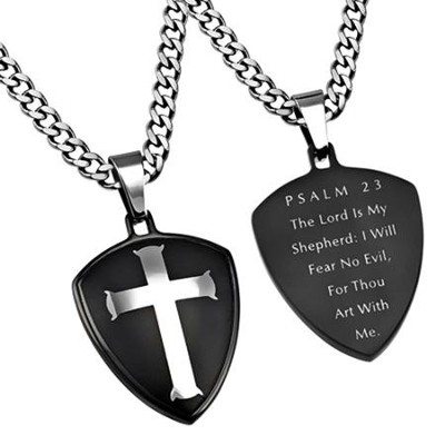 Psalm 23 Shield Cross Necklace, Black  -