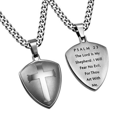 Psalm 23 Shield Cross Necklace, Silver   -